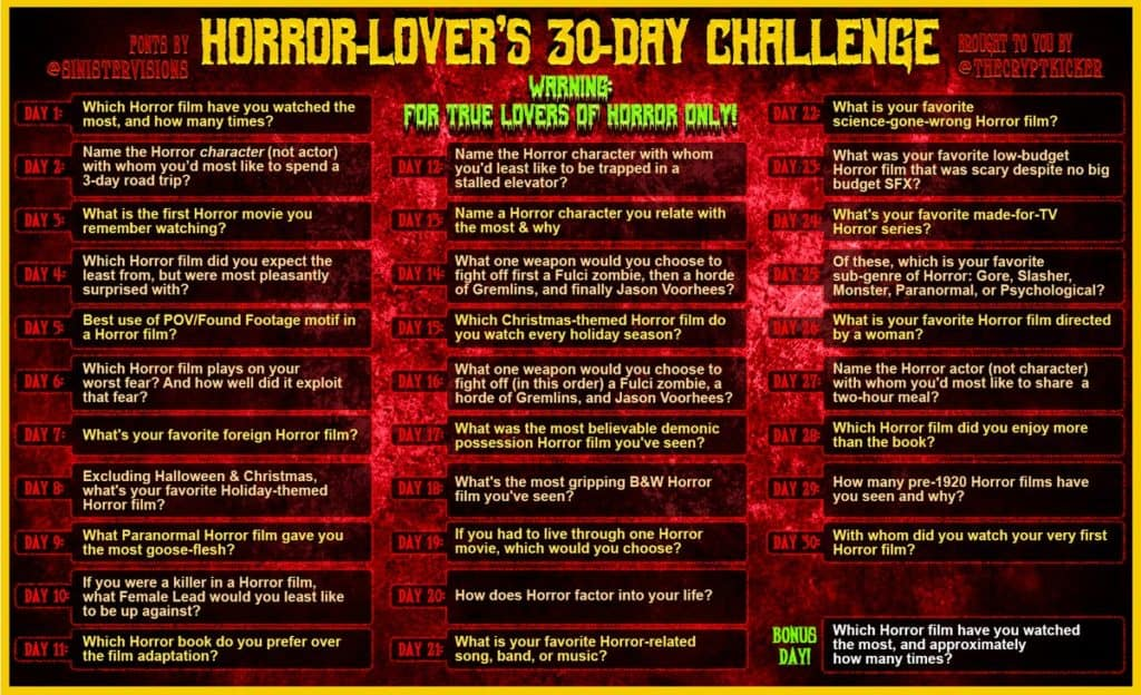 Horror Infographics: The Horror Lover's 30 day challenge